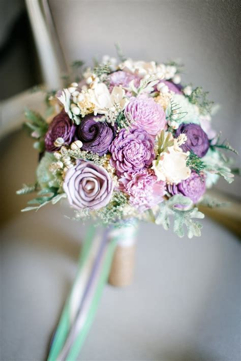 Bridal Bouquet   Sola Flowers, Dusty Miller, Purple