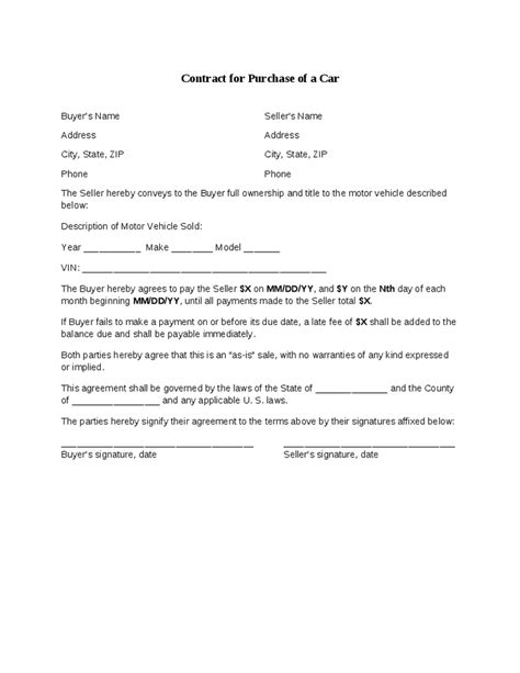 contract template for selling a car privately car selling contract hashdoc