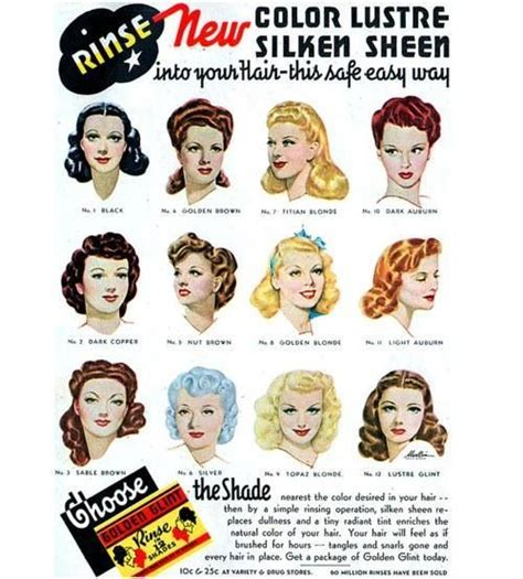 hair color in 1940 old vintage hair dye advertisement pinup vintage