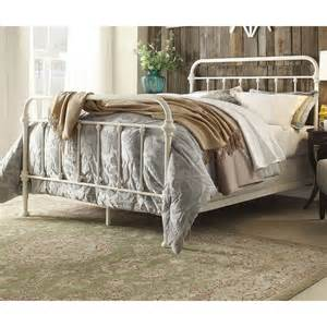Antique white iron metal bed frame full sz headboard victorian french