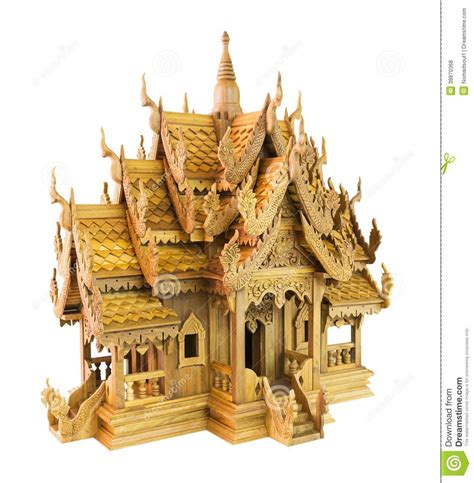 maison en bois de jouet de la tha 239 lande photo stock image 38870368