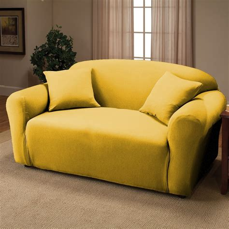 yellow sofa cover yellow jersey loveseat stretch slipcover cover