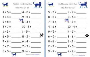 Free worksheets addition and subtraction with pete the cat free