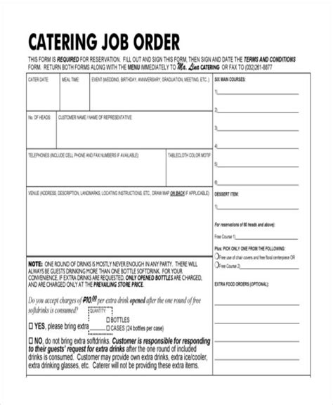 catering order form 8 catering order form free sle exle format