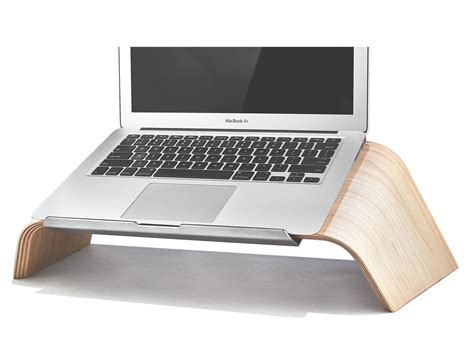 mac laptop holder for desk grovemade introduces a wooden laptop stand to bring order