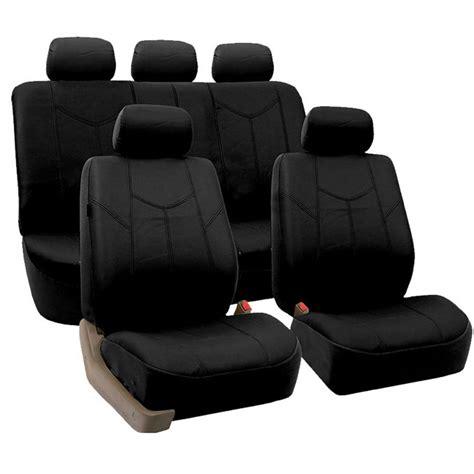 leather car seats black pu leather car seat cover set headrests floor mat