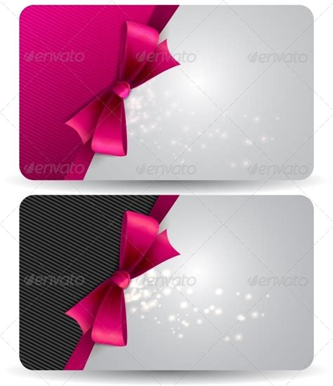 Ribbons Gift Card - holiday gift card with pink ribbons and bow graphicriver