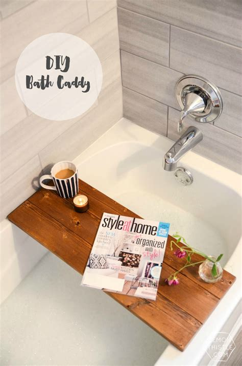 diy wooden bath caddy lemon thistle
