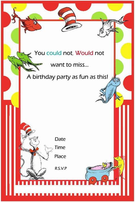 Free Printable Dr Seuss First Birthday Invitations Bagvania Free Printable Invitation Template Thing 1 Editable Template