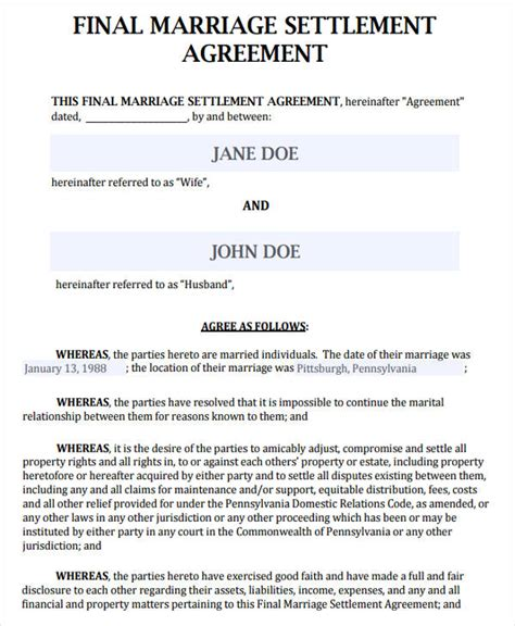 38 Agreement Form Sles Free Premium Templates Marriage Settlement Agreement Template