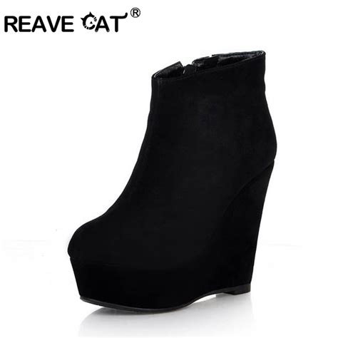 Genuine Leather Wedge Ankle Boots high quality autumn genuine leather shoes