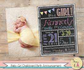 Free Printable Photo Birth Announcements Templates by Baby Birth Announcement Printable Chalkboard Baby