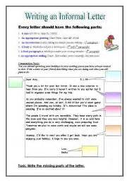 worksheet informal friendly letter