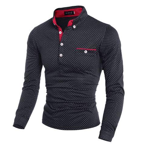 Dress Casual Polo Shirt brand clothing polo shirt pocket polka dot sleeve polos casual fitted shirts