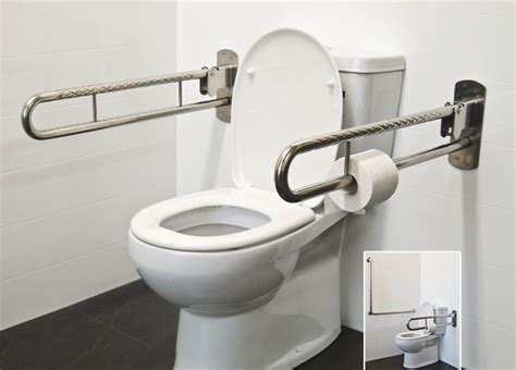 handicap rails for bathrooms stainless steel folding drop down safety rails superquip