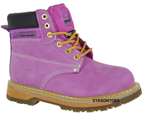 pink steel toe boots pink groundwork safety steel toe cap leather work