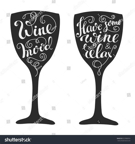 wine silhouette quotes about wine on wine glass stock vector 327889916