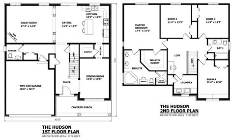 floor plan of two story house canadian home designs custom house plans stock house