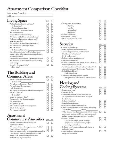 appartment list apartment comparison checklist helpful hints pinterest