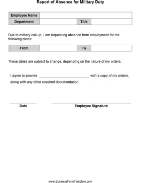 absenteeism report template report of absence for duty template
