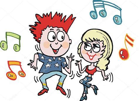 imagenes animadas bailando dibujos animados de vector de dos adolescentes bailando