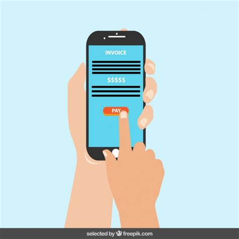 mobile phone pay mobile phone with pay button on the screen vector free