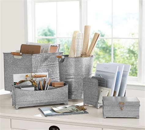 Pottery Barn Desk Organizer Galvanized Desk Accessories Pottery Barn