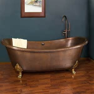 slipper bathtub 70 quot thaine copper double slipper tub polished interior