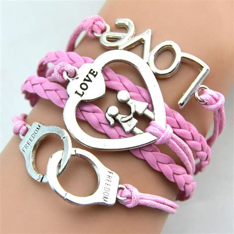 Gelang Vintage Friendship Charm Leather Bracelet Bangle gelang vintage best friend forever charm leather bracelet bangle w5 multi color