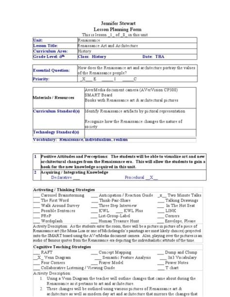 The Renaissance Worksheet Answers by Renaissance And Architecture Lesson Plan Lesson