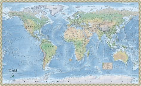 physical map of world environment map of features