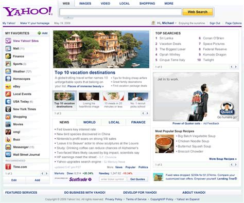 yahoo as homepage images