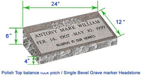 Mb20 Flat Single Bevel Marker Headstone 24 Quot X12 Quot X6 Quot P1brp Grave Marker Template