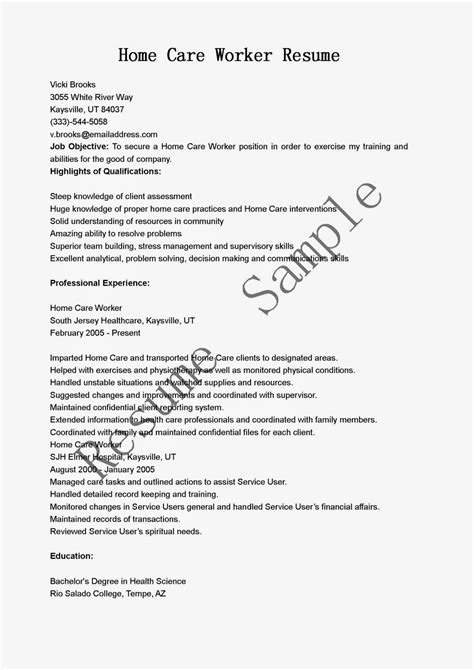 Sle Resume Of A Duty Caregiver Sle Resume For Home Care Care Worker Resume Sales Worker Lewesmr