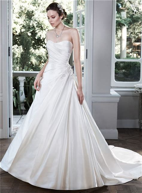 simple ball gown strapless   ruched satin wedding dress