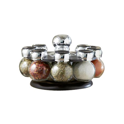 Spice Jar Stand New Glass Spice Jars Set Revolving Rack Modern Kitchen Jar