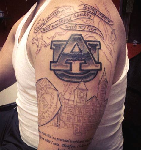 alabama football tattoo designs former player ziemba gets auburn