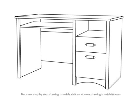 Barbie Kitchen Furniture by Learn How To Draw A Computer Desk Furniture Step By Step