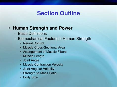section outline ppt biomechanics of resistance exercise powerpoint