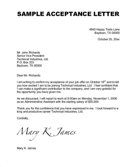 Offer Letter Vp Of Sales Acceptance Letter 6 Free Word Pdf Documents Free Premium Templates