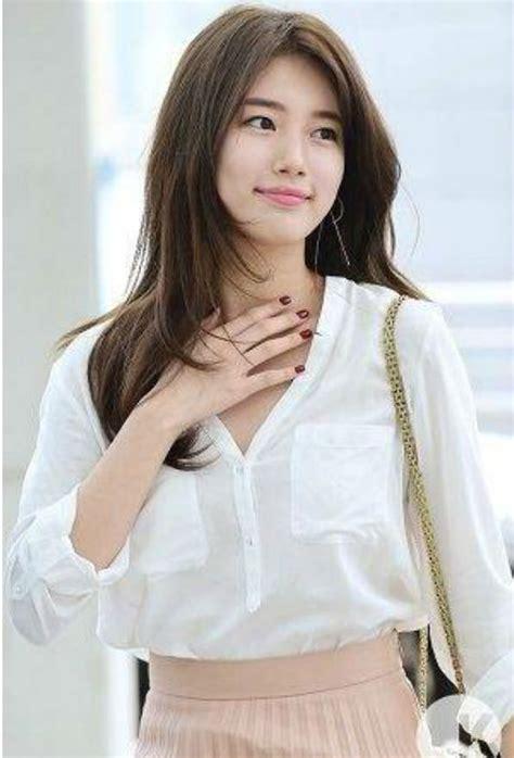 model rambut panjang ala korea  wajah bulat