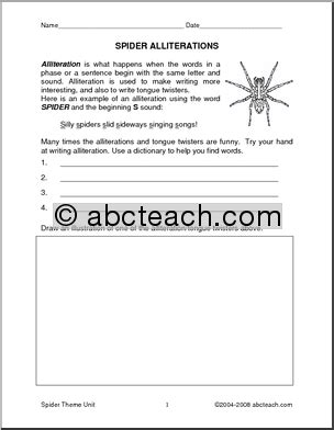Writing Paper Spider Elementary Abcteach Poetry Prompts Spiders Upper Elem Abcteach