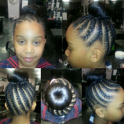 cornroll hair into bun cute kids cornrows into a bun do that hair pinterest