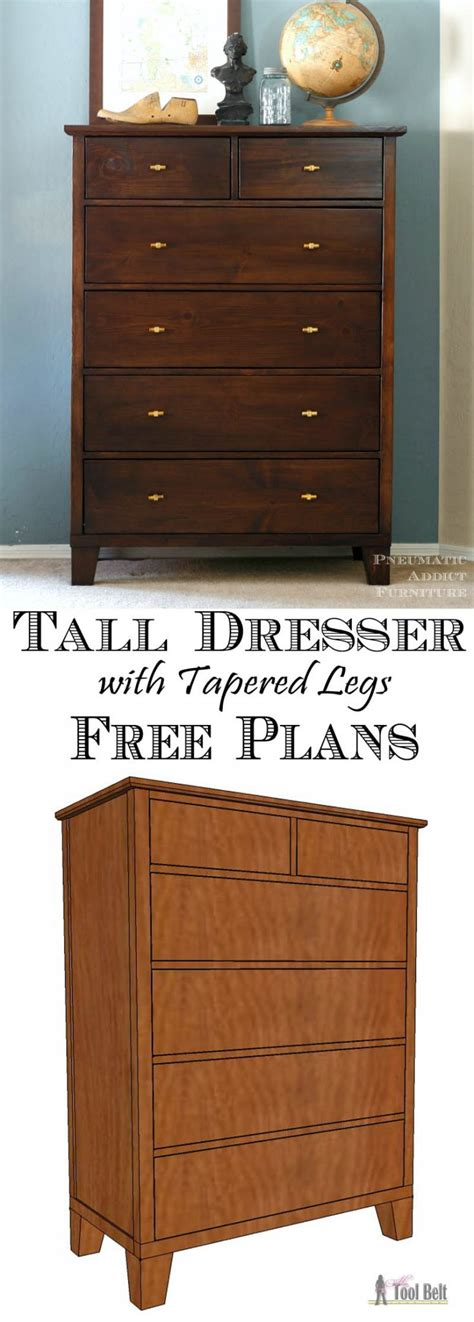 Bedroom Set Plans Woodworking Free Dresser With Tapered Legs Tool Belt