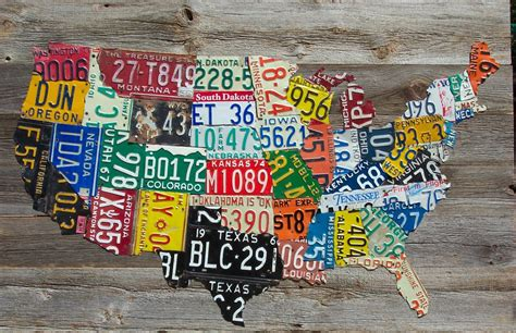 license plate map usa license plate map on vintage barnwood aaron foster