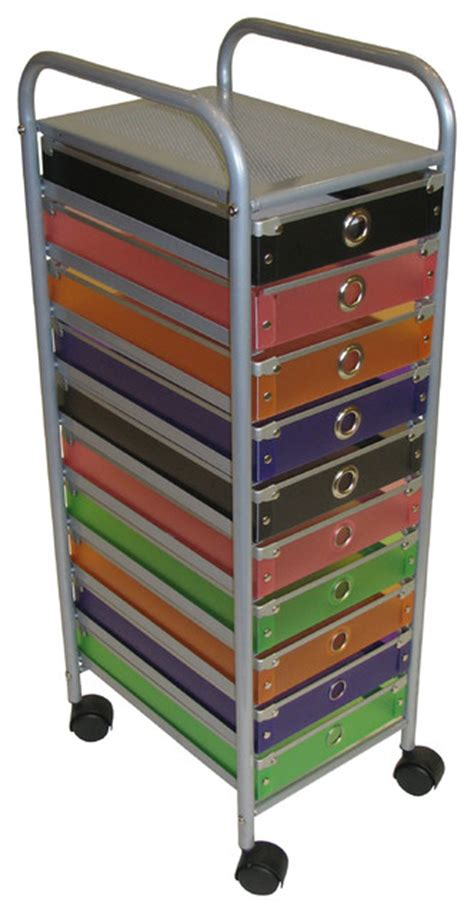 4d concepts 10 drawer rolling storage in multi color