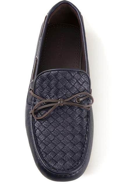 bottega veneta loafers bottega veneta woven loafer in blue for lyst