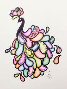 easy peacock drawing with sharpie and colored pencils