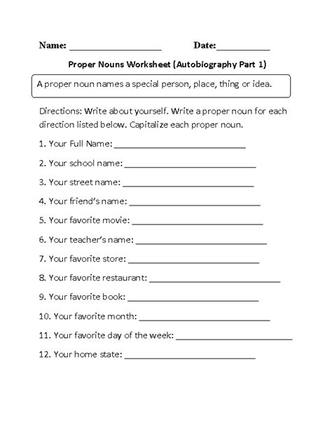 biography and autobiography activities proper and common nouns worksheets autobiography proper