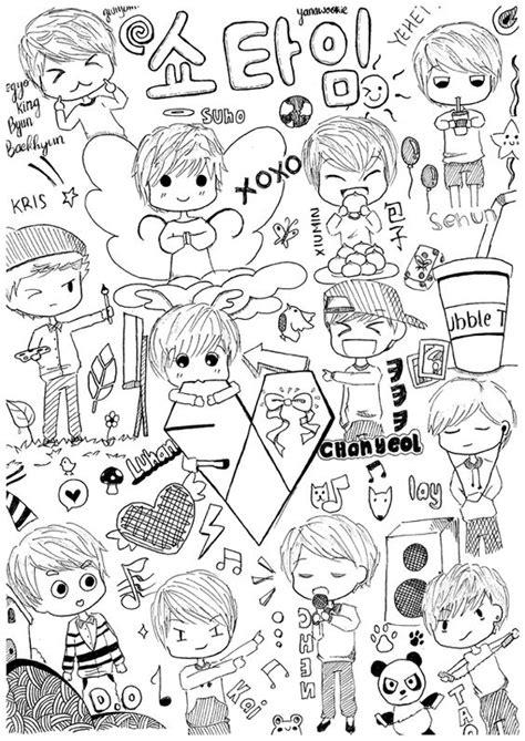 exo doodle wallpaper sehun chibi and fan art on pinterest